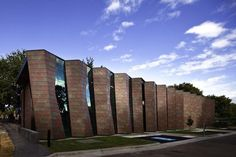 Saint Mary of the Cross Mausoleum, Melbourne General Cemetery (Australia) by Harmer Architecture Installer: Architectural Cladding Australia, Copyright : trevor mein of meinphoto Red + Green Cultural Architecture, Romanesque Architecture, Education Architecture, Classic Architecture, Facade Architecture, Residential Architecture, Church Building, Building Exterior, Building Facade