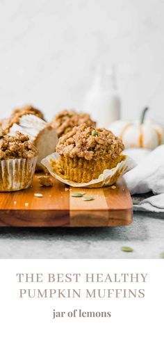 The BEST Healthy Pumpkin Muffins that are soft, light and fluffy! These muffins are perfect for a fall-inspired breakfast on the go, a quick and healthy snack, or a guilt-free treat. Pumpkin Spice Pancakes, Pumpkin Cream Cheese Muffins, Pumpkin Spice Syrup, Pumpkin Cream Cheeses, Pumpkin Bread, Pumpkin Recipes, Fall Recipes, Brunch Recipes, Beef Recipes