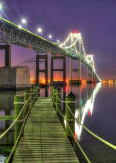 Dock At Dawn - Clairborne Pell Newport Bridge, Rhode Island, USA. Photography by Jeff Bord Places Around The World, Around The Worlds, Newport Bridge, Ville New York, Newport Rhode Island, Covered Bridges, Historical Sites, Location, Beautiful Places