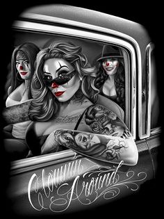Clownin Around Finished Chicano Drawings, Chicano Tattoos, Art Drawings, Dope Kunst, David Gonzalez, Aztecas Art, Chicano Love, Rockabilly Art, Cholo Art