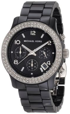 Michael Kors Watches Ladies Black Ceramic Runway with Glitz, (michael kors, womens watches, micheal kors, womens watch)