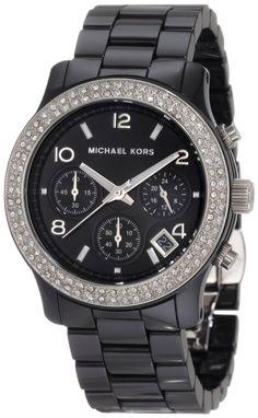 Michael Kors Watches Ladies Black Ceramic Runway with Glitz, (michael kors, womens watches, micheal kors, womens watch)