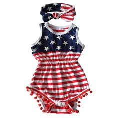 685b33a85c10 4th Of July Outfit Romper Bubble Patriotic Baby Girls Red White Blue 9 12 M