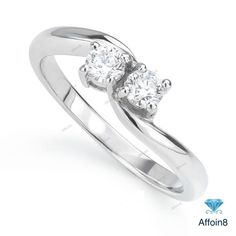 0.22 CT Round Cut D/VVS1 Diamond Two Stone Women's Engagement Ring In 925 Silver #Affoin8 #TwoStoneWomensEngagementRing