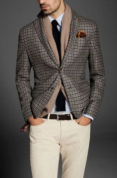 Gentleman's Style Good idea for draping the scarf inside the jacket.