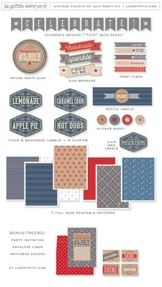 Vintage Americana 4th of July party by Lia Griffith + Lisa Frank...printable party set via Lia Griffith on Etsy  {featured on Pizzazzerie}