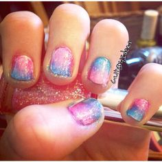 Gradient blue and pink nails. #CaitsDiyIdeas