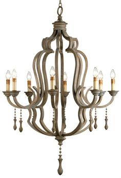 Currey and Company Gray Wooden Waterloo Chandelier 9010 - Currey Gray Wooden Waterloo Chandelier 9010This reinvention of a traditional design incorporates an updated finish and materials to create a fresh look. The Waterloo Chandelier features gracefully turned wooden pendants that dangle from a wrought iron and bent wood framework that has been stained with a stylish antique Gray Wash.SKU: 9010Manufacturer: Currey And CompanyCategory: ChandeliersColor: Washed GrayType: ChandelierShip…