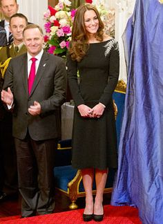 Kate Middleton looking Lovely in her 'Little Black Dress' at the Queen's Portrait Unveiling, April 10, 2014, in New Zealand.