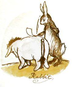 Rabbit uses Eeyore's back to write