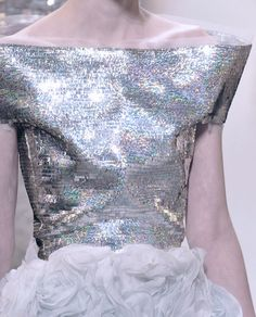 Iridescent silver holographic sequin