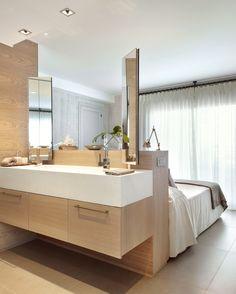Apartment interior design project in S'Agaró Indoor Outdoor Bathroom, Beach Chic Decor, Open Bathroom, Mediterranean Decor, Mediterranean Architecture, Kitchens And Bedrooms, Apartment Interior Design, Villa, Decoration
