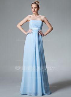 Bridesmaid Dresses - $118.99 - Empire Strapless Floor-Length Chiffon Charmeuse Bridesmaid Dress With Ruffle (007000840) http://jjshouse.com/Empire-Strapless-Floor-Length-Chiffon-Charmeuse-Bridesmaid-Dress-With-Ruffle-007000840-g840?ver=n1ug2t&ves=vnlx6