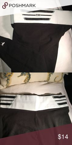 """""""PINK"""" YOGA PANTS """"PINK"""" yoga. Pants size small,white band with black stripes """"PINK""""logo on each side slightly worn condition, pencil leg. PINK Victoria's Secret Pants Leggings"""