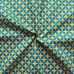 """100% Baumwolle Popeline """"Retro Flowers & Dots"""" in petrol-blau"""