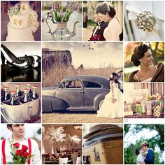 omg this is totally what i want, a 1940's themed wedding!like the middle pic sums it up perfectly!