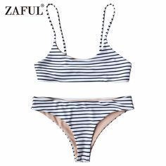 7f01fa4dbbf98 Two Pieces Striped Low Waist Spaghetti Straps swimwear. Supportive  BraletteCrop Top BikiniBikini SetTwo Piece SwimsuitsWomen ...