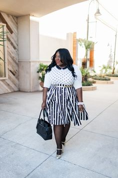 Musings of a Curvy Lady, Plus Size Fashion, Fashion Blogger, Women's Fashion, Polka Dot Skirt, Striped Skirt, Full Skirt, Box Pleated Skirt, Etsy Shop, Great Skirts by Nate, Kohl's, ELLE for Kohl's, Kate Spade Gold Sequin Mary Jane, Style Hunter, The Outfit, #RealOutfitGram