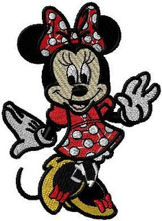 Minnie Mouse Disney Red 7.5cm x 6.5cm Patch Embroidered Sew or Iron on Badge