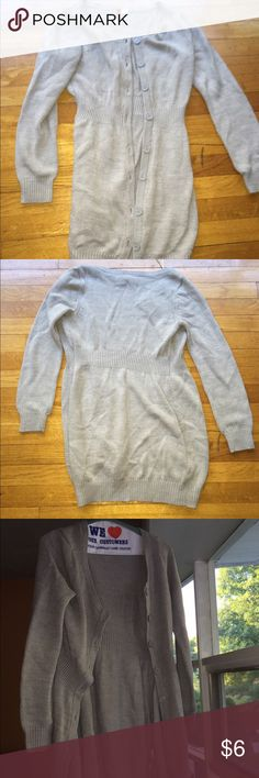 Light grey long sweater cardigan It honestly looks better worn open. H&M Sweaters Cardigans