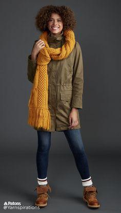 Honey Comb Twist Knit Super Scarf