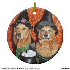 Golden Retriever Witches Ceramic Ornament