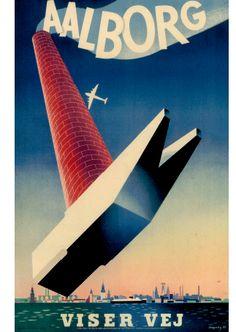 Aalborg by Viggo Vagnby Vintage Travel Posters, Vintage Ads, Poster Vintage, Aalborg, Logo Design, Graphic Design, Denmark, Illustrators, Uganda