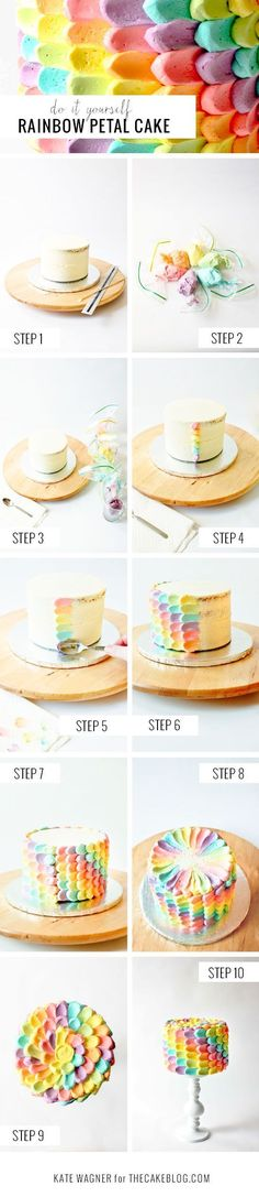 DIY Rainbow Petal Cake - 15 Spring-Inspired Cake Decorating Tips and Tutorials (diy birthday cake decorating) Pretty Cakes, Cute Cakes, Beautiful Cakes, Amazing Cakes, Cake Decorating Tips, Cookie Decorating, Decorating Supplies, Rainbow Petal Cake, Rainbow Icing