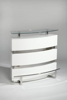 Features: Contemporary Glass Bar Color/Finish: Gloss White Tempered glass top Stemware holder Two shelves Gloss white base Home Bar Furniture, Furniture Deals, Dining Room Furniture, Coaster Furniture, White Bar Table, Modern Home Bar, Modern Decor, Bar Unit, Glass Countertops