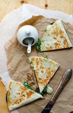 Spinach and Taleggio Cheese Quesadillas...