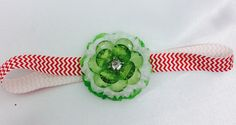 Red Baby Girl Headband, Red Chevron Green Glitter Sparkly Flowers Headband, Holiday headband, Gift for toddler, New baby Gift by blingscarves. Explore more products on http://blingscarves.etsy.com