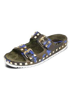 •Camo-print slides in studded, textured leather •Leather upper •Adjustable buckle straps •Leather and suede lining  •Lightly padded insole •Man-made sole  Ash Utopia Sandal by ASH. Shoes - Sandals - Flat Los Angeles, California