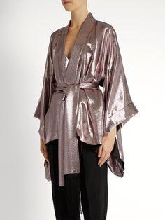 b204e369f Hillier Bartley Tie-waist silk-lamé kimono jacket Kimono Jacket