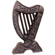 Small Irish Harp Wall Hanging A beautiful reminder of the Irish Bardic Harp Height inches Weight Harp, Celtic, Irish, Bronze, Gifts, Ireland, Decor, Red, Presents