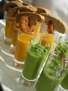 Hot & Cold Soup Shooters: Hot Butternut Squash Soup, with Chili Rubbed Shrimp & Corn Biscotti | Cold Pea Soup, with Micro Greens