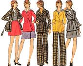 """1972 Jacket/Coat, Front Tie, Dolman Sleeves, Patch Pockets, Wrap Skirt, Front Zip Flared Pants, Butterick 6947, Bust 31 1/2"""" or Bust 38"""""""