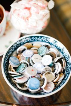 Pin badges are perfect for quirky weddings © dominiquebader.com