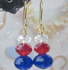 Red White and Blue Czech dangle earrings, patriotic, flag colors, celebrate