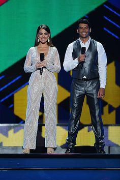 Maria Elisa Camargo and Gabriel Porras onstage at Telemundo's 'Premios Tu Mundo' Awards 2015 at American Airlines Arena on August 20 2015 in Miami...
