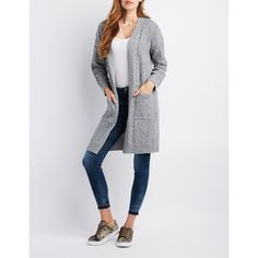 ab8df6076c Charlotte Russe Mixed Knit Duster Cardigan ( 16) ❤ liked on Polyvore  featuring tops