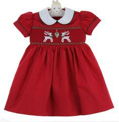 NEW Marco & Lizzy Red Smocked Dress with Reindeer Embroidery $70.00 #SmockedChristmasDress