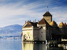 Chateau de Chillon on Lake Geneva, Chillon, Vaud, Switzerland