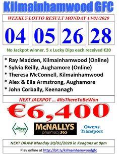 Support the fundraising efforts of Kilmainhamwood GFC, Kilmainhamwood Kells, Meath. Lotto Draw, Ken Russell, Number Drawing, Jackpot Winners, Text Messages, Dip, Texts, Numbers, Words