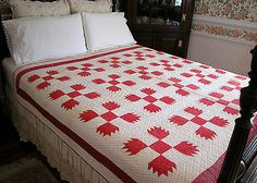 Antique Vintage Red White 9 Patch Signed Hand Stitched Quilt | eBay, haywoodhouse