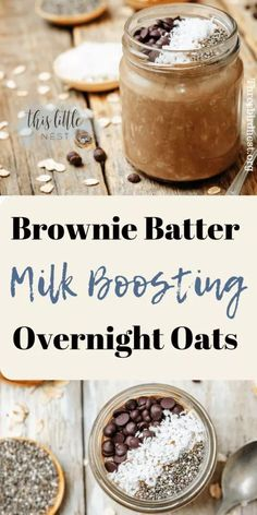 Lactation Recipes: Overnight Brownie Batter Chocolate Oats For Increasing Milk Supply. Breastfeeding tips for new moms. Lactation Recipes, Lactation Cookies, Lactation Foods, Oats Recipes, Baby Food Recipes, Brunch Recipes, Dinner Recipes, Breastfeeding Snacks, Breastfeeding Smoothie