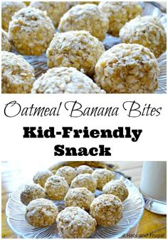 Oatmeal Banana Bites - Easy Snack For Kids - 4 Hats and Frugal Looking for a quick snack for kids? This oatmeal banana bites recipe is so easy, the kids can make Easy Toddler Snacks, Quick Snacks For Kids, Cooking With Kids Easy, Easy No Cook Recipe For Kids, Toddler Meals, Oatmeal Bites, Granola Bites, Banana Bites, Oatmeal Cookies
