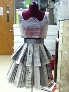 Newspaper Skirt and Plastic Bag Tank Top