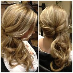 trendy wedding hairstyles updo pony tails half up Side Ponytail Hairstyles, Twist Ponytail, Braided Hairstyles Tutorials, Elegant Hairstyles, Easy Hairstyles, Wedding Hairstyles, Ponytail Easy, Side Ponytails, Simple Hairdos