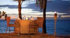 Romantic wedding dinner on the beach