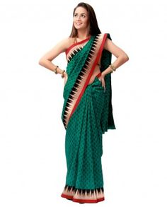 $88A perfect saree to carry an urban look for the evening..!! The saree has a different taste which increases its beauty. The red and gold borders look fab.    Color-Green and black  Material-Raw silk  Work-Borders  Slight variation in color is possible.